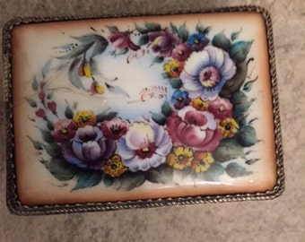 Small Antique Collectible Trinket Box with Hand Painted Porcelain lid