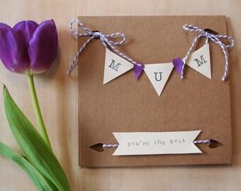 Purple Handmade Shabby-chic 'Bunting' Mum Birthday / Mother's Day Blank Greetings Card