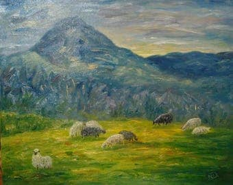 "Oil painting ""Mountain Valley"""