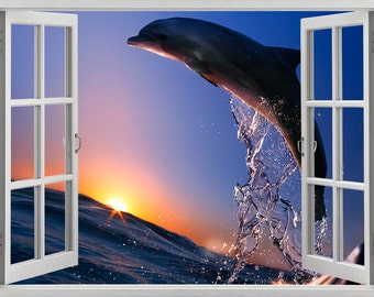 Dolphin wall sticker, decal, self-adhesive vinyl