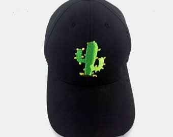 CACTUS Dad Hat, Black Adjustable Cotton Baseball Hat