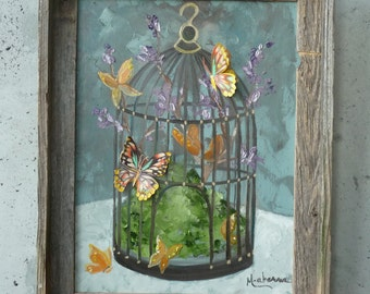 """Fluttering Cage // Original Art // Mixed Media Painting // by Mandie Aberra // 12"""" x 16"""" // Oil on Canvas"""