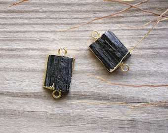 Connector tourmaline black and gold 32 x 16 mm mineral stone