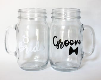 Bride and Groom Mason Jar Glasses, Perfect for an Engagement or Wedding Gift for a Couple - Set of 2