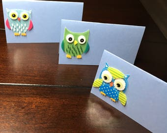 Owl place cards, owl food labels, Name Cards, baby shower, Seat Cards, Placecards, Food Tents -6 per order