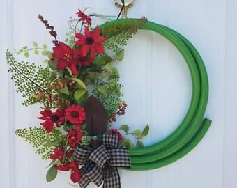 Red Garden Hose Wreath
