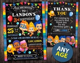 Bubble Guppies Invitation, Bubble Guppies Birthday Invitation, Bubble Guppies, Bubble Guppies Printable, Bubble Guppies Card, Invite