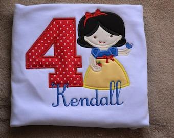 Snow White Shirt - Girls Boutique Shirt - Birthday Shirt - Personalized Birthday - Princess Shirt - Disney Shirt