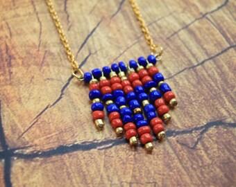 Handmade Boho Beaded Necklace Medium/ One of a Kind