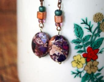 Natural Purple Stone Oval Earrings / Handmade by Rachel Smith Studio