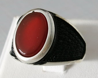 Handmade 925 Sterling Silver Natural Brown Agate STONE FASHION Men's RING #C50