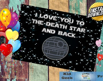 Love you to the Death Star and Back Star Wars Valentine's Day Card!