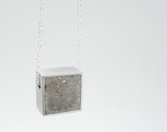 Square Concrete Pendant Silver Chain Necklace Minimalist Contemporary Architectural Geometric Modern Simple Jewelry.