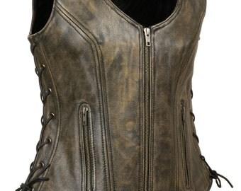 Ladies Side Lace Zipper Front Distress Brown/Black Leather Vest