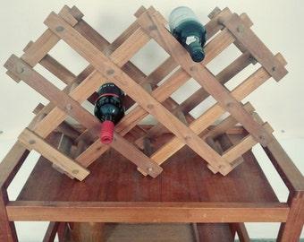SALE orig 65 Mid Century Modern Teak wood wine rack bottle holder Eames Era
