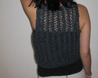 Moda vest, Woolen vest, Woolen Jersey , Jersey without sleeve, Gray vest, Chic tank, gift for her, Women sweater, Acrylic and woolen tank
