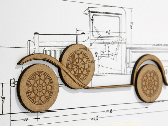 Ford model a pick up blueprint automotive art blueprint wall like this item malvernweather Choice Image