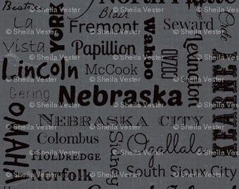 Nebraska Cities fabric - Fat Quarter - red and black - gray and black