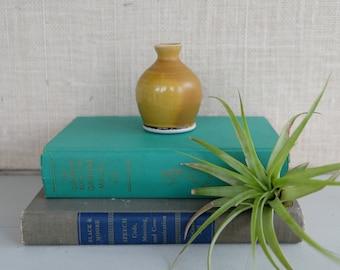 Vintage Mustard Yellow Miniature Vase, Studio Pottery