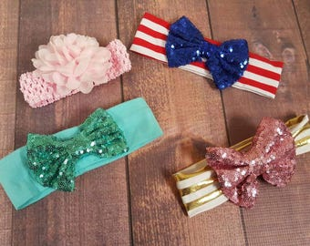 Baby Headbands, Infant Hair Accessories, Sequin and Chiffon Flower Bows