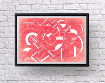 Art Deco Collection: Modern Home Decor, Vibrant Geometric Digital Wall Art Prints.