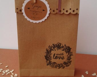 Bag portariso/confettata/Wedding/Marriage/Love/Save the date/Kraft paper/White/ bag portariso