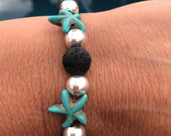 Turquoise starfish lava rock bracelet
