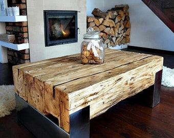Handmade Reclaimed Wood & Steel Coffee Table Vintage Rustic Industrial  loft end table unique brown old wood old beams silver legs