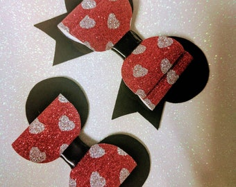 Minnie Mouse Inspired Glitter Bow // Disney Bow // Large Red Glitter Bow // Hair Bows // Girls Bows // Disney Hair Bow // Mickey Mouse