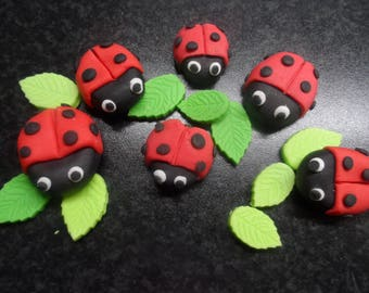 Sugar Paste Edible Ladybirds LadyBugs set of 6