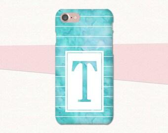 Blue Watercolor Custom Initial iPhone Case, Watercolor iPhone 7 Case, iPhone 6 Case, Plus, Personalized iPhone Case, Monogram, iPhone 6S