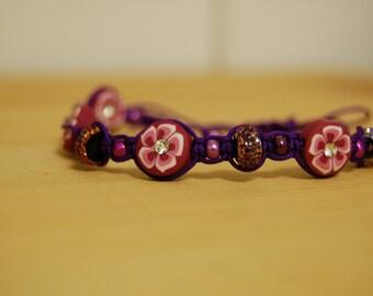 Purple Shamballa macrame bracelet