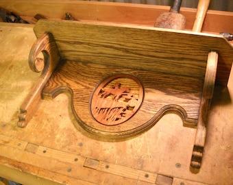 Decorative Western Shelf w/ Plate Groove- Red Oak Shelf w/ Scrolled Walnut Insert- Plate Display Shelf- Small Wooden Shelf