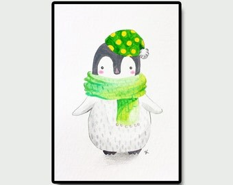 "Penguin Nursery Art, Nursery Wall Art, Kids Room Art, Original Nursery Art, Art and Collectibles, Penguin with Green Scarf and Hat, 5""x7"""