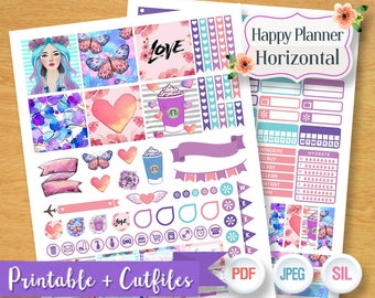 Purple Dreamy Girl Weekly Planner Stickers Digital Planner Kit Sticker Planner Girl Pastel Weekly Set Printable Horizontal Happy Planner THP