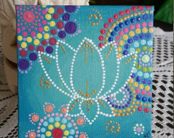 Aqua Lotus 10x10 dotpainting. Acrylic on canvas. With display stand.