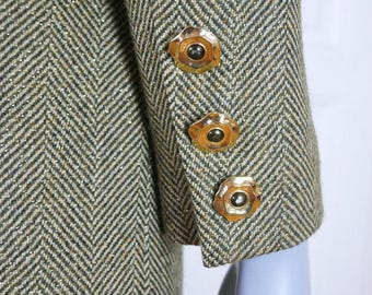 1980s Vintage Blazer, Green Gold Herringbone Power Dressing Jacket, Dynasty Glittering Herringbone Pattern: Size 12/14 US, 16/18 UK