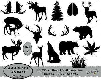 INSTANT Download - 15 Woodland Animal Silhouette Clip Art - Set 2 - 7 inches - PNG & SVG files - Deer - Moose - Bear- Wolf - Grass - Antlers