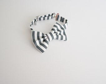Black and White Stripe Adjustable Bow Tie