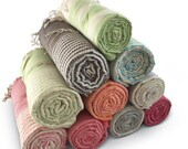 SET OF 10: Premium Handmade Turkish Pestemal Towels Bamboo Cotton Bath Beach SPA Pool Swim Yoga Baby, Swim Cover-Up, Pad, Meditation Blanket