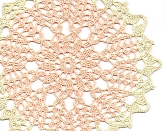 Crochet Doily Lace Doilies Table decoration Crocheted Doily Centrepiece HandMade Wedding Doily Napkin Boho Bohemian Decor Round Peach Cream