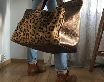Travel bag burlap leopard Majasane one