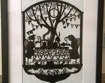 The Mad Hatters Tea Party, Alice's Adventures In Wonderland, Tea Party, Fairy Tale, Wall-Decor, Handmade Gift, Handcut, Papercut Artwork.