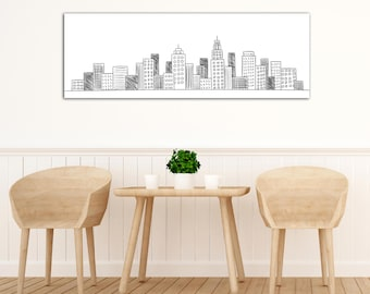 Cityscape Canvas - Cityscape Hand Drawn Framed Canvas - Hand Drawn Style Wall Decor - Black and White Theme Canvas - Artistic Home Decor