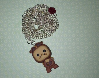 Necklace pendulum clock handmade in polymer clay