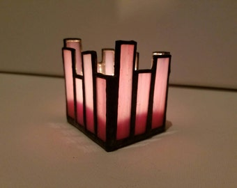 Lilac stained glass candle holder /tealight holder