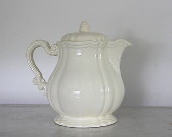 French Antique Cream Ironstone Coffee Pot, SARREGUEMINES, Shabby Chic Earthenware, Stoneware