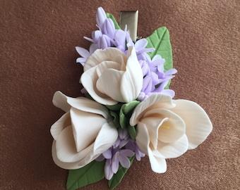 Freesia flower hairclip - Brooch- Freesia - syringa -  Handmade  - A flower in her hair - Summer  accessories
