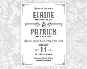 Wedding Invitation Template Word Vintage Art Deco - Buchanan