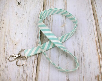 Lanyard ID Badge Holder- Blue and White Stripe Fabric